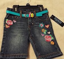 SQUEEZE Girl's 3T Marti Wash Colored Jean Shorts With Colorful Belt~ CUTE