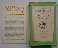 The Confessions Of Jean-Jacques Rousseau.1St S/B 1953.L33 Penguin.Thoughts