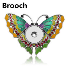 Hot Crystal Jewelry Brooch Fit 18mm Noosa Snap Button Butterfly N05