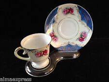 """Hand Painted """"FERN"""" China Demitasse Blue, Gold w/ Roses Tea & Cup Saucer Set"""