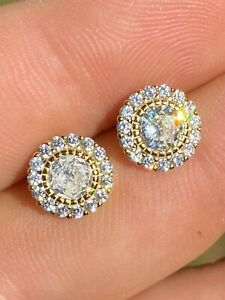 14k Gold Over Real Solid 925 Sterling Silver Earrings 10mm Solitaire Round Studs