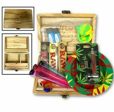 More details for wooden smoking rolling box - ash tray pipe christmas gift rolling papers bundle
