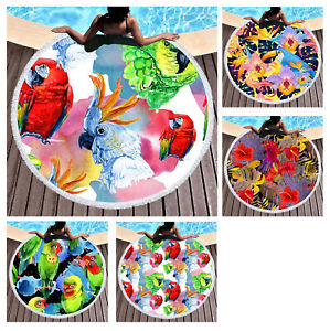 Tropical Plant Flower Macaw Parrot Print Fringed Beach Towel Blanket Tapestry
