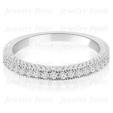 Fine 0.20ct Diamond Wedding Band Antique Vintage Style Ring 14k White Gold