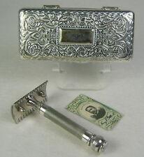 Gillette Pocket Edition Empire Design Safety Razor Set Metal Case Blade