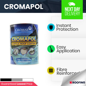 Cromapol   Acrylic Roof Coat   Roof Paint Sealant   Waterproof   4 Colours   5kg