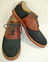 WALK OVER Mens Saddle Oxfords Black Suede & Brown Leather Made In USA Size 9.5 M