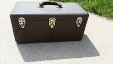 Vintage Metal Tool Box or Tackle Box Sectioned Tray Leather Handle