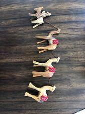 Vintage Donkey & Camel Train Figurines Hand Carved Olive Wood Jerusalem caravan