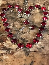 Necklace And Earrings Garnet & Ruby Red W/ Swarovski Crystals Antique Silver