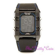 OMAX Black Blue Chronograph Steel Seiko Digital LCD Leather Sports Watch OAS085