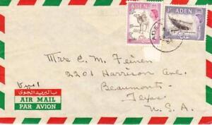 ADEN SG#65,#62-ADEN CAMP 25/FE/54-AIR MAIL to USA