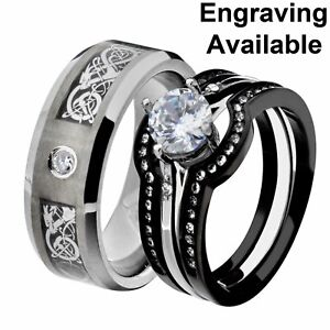 His & Hers Stainless Steel Clear Round CZ Wedding Ring Set Tungsten Men Band PF