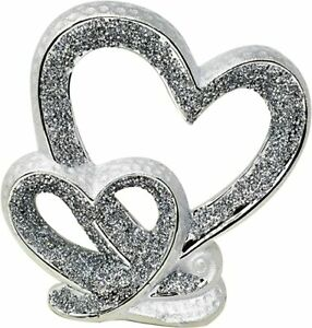 GIFT SILVER DOUBLE HEART SPARKLE BLING ORNAMENT LOVELY DISPLAY DECOR HOME