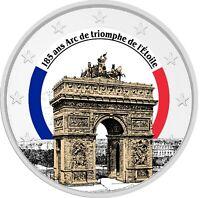2 Euro Gedenkmünze  Triumphbogen / Arc de Triomphe coloriert / Farbe / Farbmünze