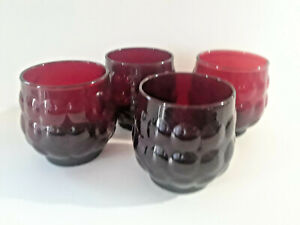 RUBY RED VINTAGE BUBBLE GLASS 4 SMALL  8 OZ  GLASSES HI BALL