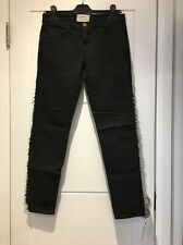 Current/Elliott Black Stretch Ankle Skinny Jeans Fringe 25 New NWT