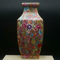 "9.8"" Chinese Ceramics Porcelain Famille Rose Flowers Pretty Square Bottle Vase"