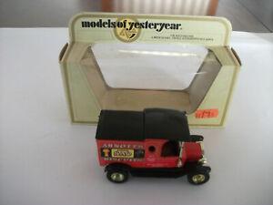 MODEL OF YESTERYEAR Y-12-3-I-1 Ford T Arnotts Gloss Black Roof - Rare