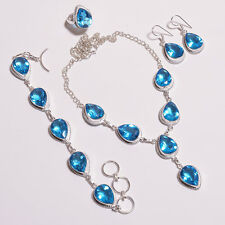 Swiss blue topaz faceted necklaces bracelets earrings pair rings set