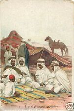 COUSCOUS ACCEUIL ARABE BEDOUIN CHROMO IMAGE CARD XIX eme 19th COSTUME