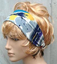 RETRO 80s RED GREY BLUE FABRIC HANDMADE HAIR WRAP BANDANA SCARF HEADBAND E247