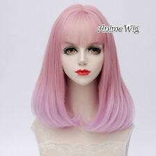 40CM Medium Wavy Pink Ombre Hair Bangs Fashion Women Lolita Cosplay Wig+Wig Cap