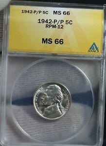 1942 P/P 5C Jefferson Nickel ANACS RPM 12  MS66
