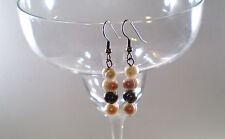 """Earrings Pearls FW White/Mauve/Peacock Silver Plated Drop 1.75"""" Handmade GB New"""