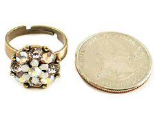 Victorian Vintage Look Brass Adjustable White Flower & Crystal Ring