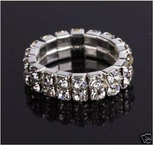Double Row Toe Ring Rhinestone Clear Crystal Elastic Stretch Jewellery Gift UK