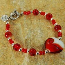 Red Glass Bead Bracelet Bangle 126c - FREE UK POST!