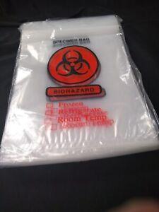 "BIOHAZARD Specimen Transport Bags Zip Closure w/ Pouch 8"" x 10"""