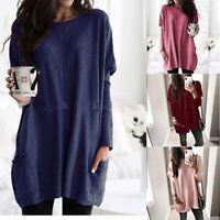Women Plus Long Top T-shirt Loose Pullover Sleeve Tunic Size Baggy Casual Jumper