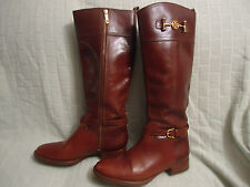 Auth Tory Burch Brown Leather nadine' Riding Boot (WOMEN) Sz 10 1/2 M