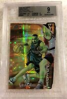 GRANT HILL 1997 FINEST EMBOSSED DIE-CUT GOLD REFRACTOR #308 SERIAL #65/74 BGS 9