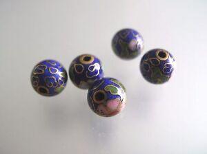Vintage estate 5 pcs 7.8-8mm metal Cloisonne Blue loose beads whole drilled