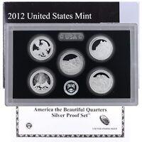2012 S Proof Parks Quarter Set ATB 90% Silver Original Box & COA 5 Coins US Mint