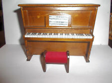 Miniature Doll House Upright Wood Piano With Bench
