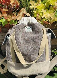 Hemp Bagpack natural pull string closure trendy Handmade organic sustainable bag