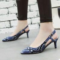 Women Slingback Sandals Ankle Strap Kitten Heel Pointed Toe Dress Pumps Shoes