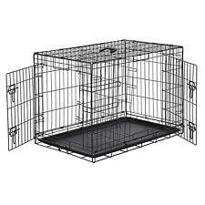 AmazonBasics Double-Door Folding Metal Dog Crate, Black, 36-inch