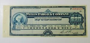 Early 1900's Wells Fargo $20.00 Travelers Check Unused W Native American Indian