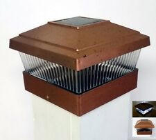 (6 Pack) Solar Powered Outdoor Garden 5x5 Fence Post Cap LED Light, Copper