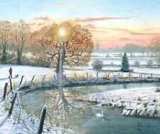 """Superbe original de richard harpum m.a (maille) """"l' hiver promenade"""" peinture de paysage"""