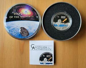 2011 Cook Islands Muonionalusta Meteorite Silver Proof Genuine Embedded Fragment