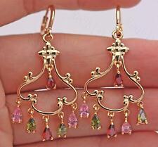 """18K Gold Filled- 2"""" Hollow Flower Bosnian UNirl Ruby Emerald Party Earrings UN"""