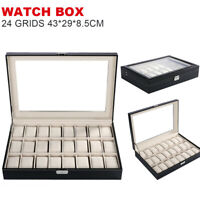 24Slot Fashion Present Gift Boxes Case For Jewelry Ring Earrings Wrist Watch Box