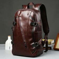 Men's Vintage Leather Backpack School Book Bag Travel Shoulder Satchel Rucksack