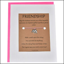 Thoughtful Greeting Card and Wish Bracelet Friendship with Elephant Charm -